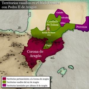 Territorios de la corona de Aragón con Pedro II