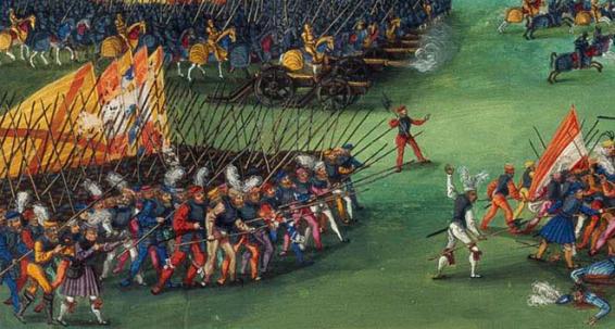 El triunfo de Maximiliano. Detalle escuadrones luchando