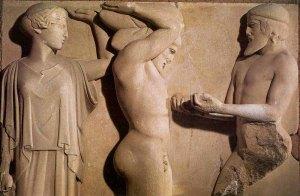 Heracles entrega a Atlas las manzanas de las Herpérides en presencia de Atenea. Olimpia_templo de Zeus