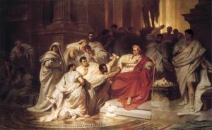 Senadores romanos juzgando a Julio César de von Piloty