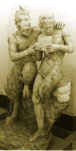 Pan enseña a Dafnis a tocar la zampoña